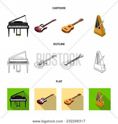 Musical Instrument Cartoon, Outline, Flat Icons In Set Collection For Design. String And Wind Instru