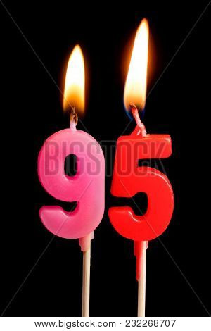Burning Candles In The Form Of 95 Ninety Five Figures (numbers, Dates) For Cake Isolated On Black Ba