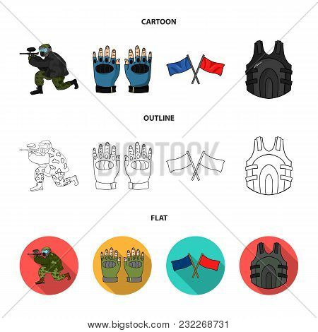 Sport, Game, Paintball, Competition .paintball Set Collection Icons In Cartoon, Outline, Flat Style