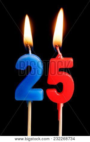 Burning Candles In The Form Of 25 Twenty Five Figures (numbers, Dates) For Cake Isolated On Black Ba