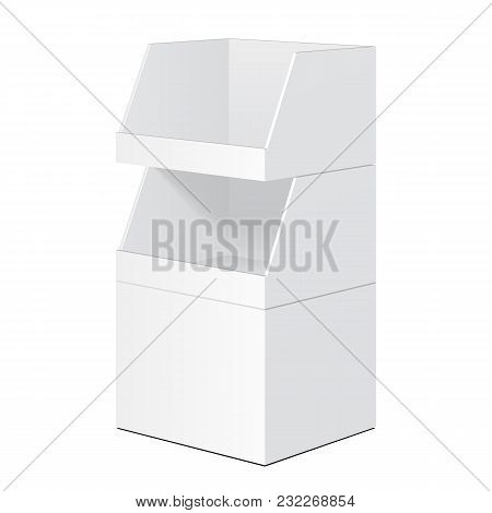 White Tabletop Stand, Cardboard Floor Display Rack For Supermarket Blank Empty Displays With Shelves Products Mock Up On White Background Isolated. Ready For Your Design. poster