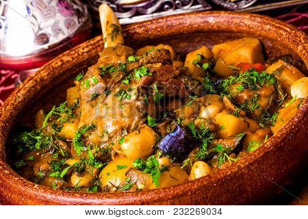 Lamb Shank Stew With Vegetables. Georgian Cuisine