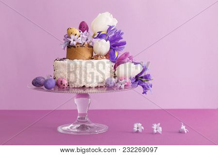 The Cake With Easter Eggs And Flowers