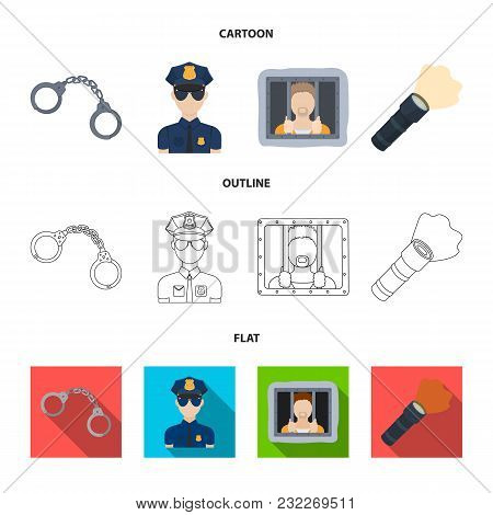 Handcuffs, Policeman, Prisoner, Flashlight.police Set Collection Icons In Cartoon, Outline, Flat Sty
