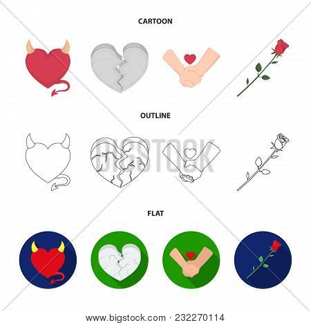 Evil Heart, Broken Heart, Friendship, Rose. Romantic Set Collection Icons In Cartoon, Outline, Flat