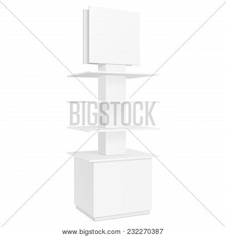 White Round POS POI Cardboard Floor Display Rack For Supermarket Blank Empty Displays With Shelves Products On White Background Isolated. Ready For Your Design. Product Packing. Vector EPS10 poster