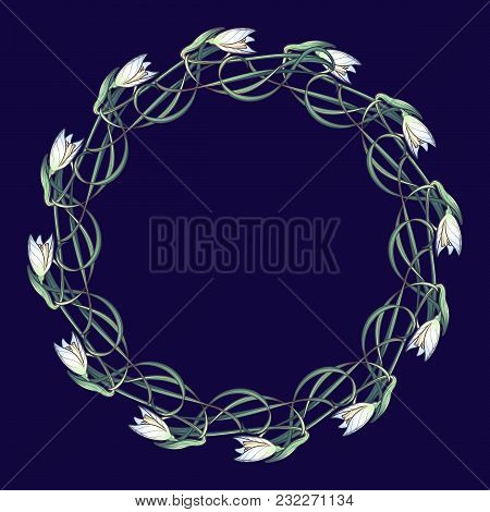 Spring Flowers. Snowdrop Flowers Interlaced Into An Intricate Circular Ornament On A Dark Blue Backg