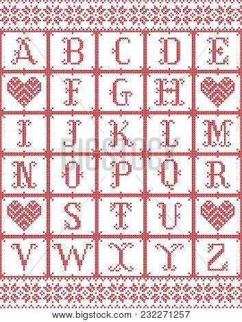 Scandinavian Style Alphabet  Inspired By Norwegian Christmas, Festive Winter Seamless Pattern In Cro