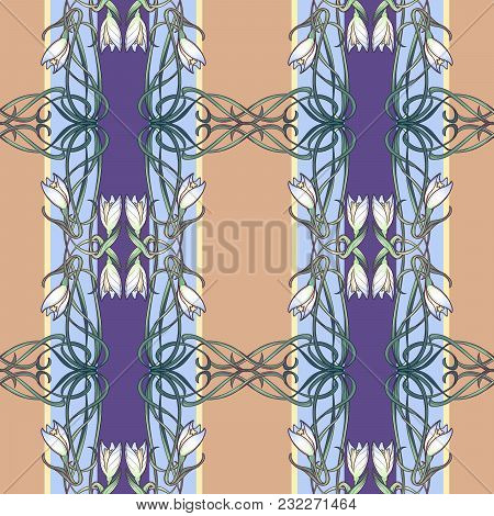Spring Flowers. Snowdrop Flowers Interlaced Into An Intricate Ornament On Avertical Striped Backgrou