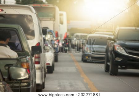 Cars On The Road Heading Towards The Goal Of The Business Trip.and Stop By Traffic Jam In Junction I