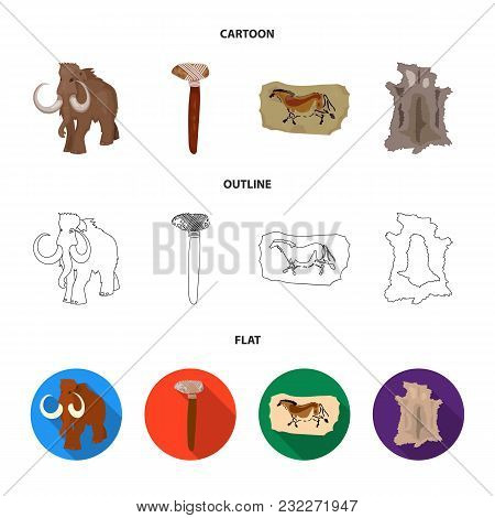Primitive, Mammoth, Weapons, Hammer .stone Age Set Collection Icons In Cartoon, Outline, Flat Style