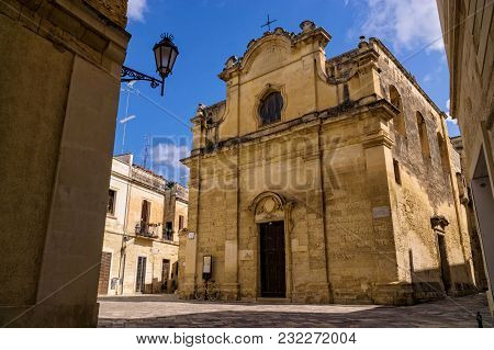 Old Church In Southern Italy, With Exquisite Architecture Of Lecce City