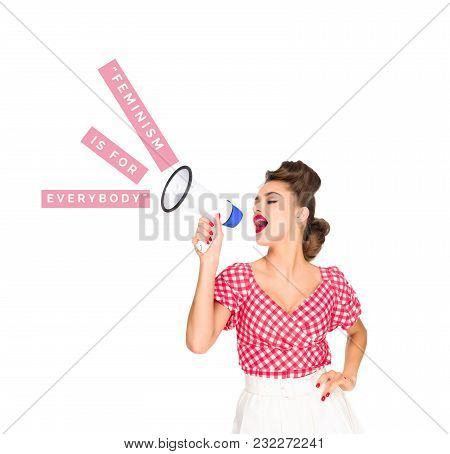Portrait Of Fashionable Young Woman In Pin Up Style Clothing With Feminism In For Everybody Words Ou