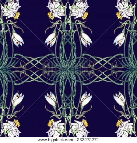 Spring Flowers. Daffodil And Snowdrop Flowers Interlaced Into An Intricate Ornament On A Dark Blue B