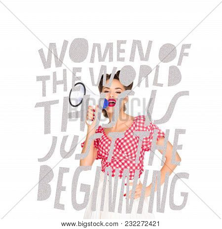 Portrait Of Fashionable Young Woman In Pin Up Style Clothing With Loudspeaker And Feminism Lettering