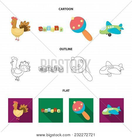 Children Toy Cartoon, Outline, Flat Icons In Set Collection For Design. Game And Bauble Vector Symbo