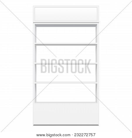 White Cardboard Floor Display Rack For Supermarket Blank Empty Displays With Shelves Mock Up. Illustration Isolated On White Background. Product Presentation. Vector illustration poster