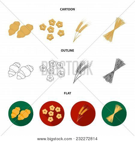 Different Types Of Pasta. Types Of Pasta Set Collection Icons In Cartoon, Outline, Flat Style Vector
