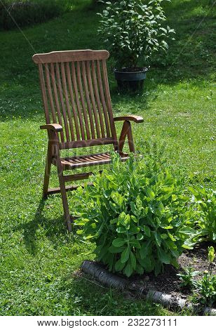 Colorful And Crisp Image Of Garden Chair For Recreation In Calm Surroundings