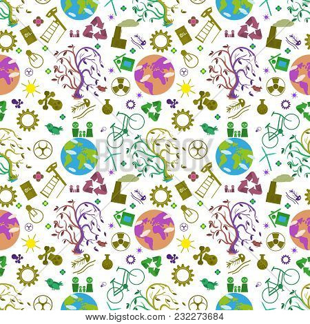 Vector Seamless Flat Pattern Illustration Of Tree On Earth, The Symbol Of World Ecology, The Problem