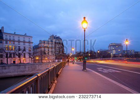Pont De Sully Bridge Over Seine River, Ile Saint Louis, Paris, France