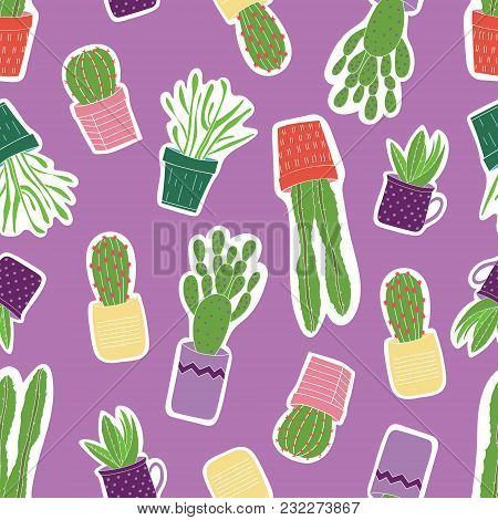 Seamless Vector Pattern With Colorful Green Succulents In Purple, Yellow, Orange, Pink Pots With A P