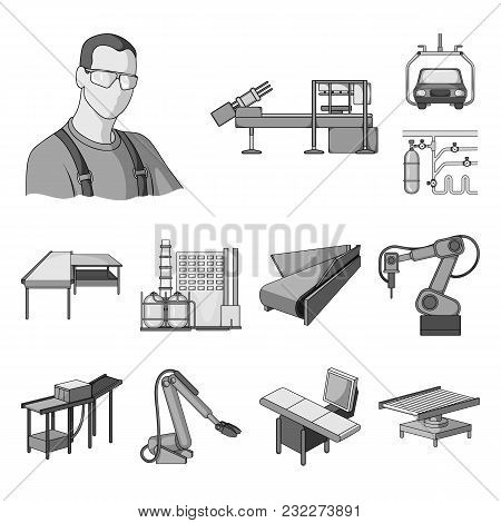 Equipment And Machine Monochrome Icons In Set Collection For Design. Technical Progress Of The Facto
