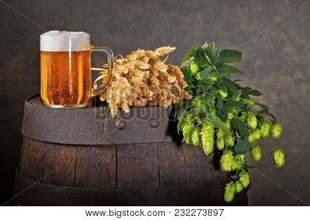Still Life With Beer Glass, Hop Cones And Wheat
