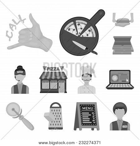 Pizza And Pizzeria Monochrome Icons In Set Collection For Design. Staff And Equipment Vector Symbol