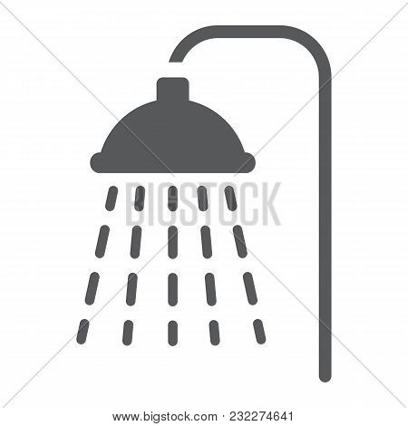 Shower Glyph Icon, Real Estate And Home, Bath Sign Vector Graphics, A Solid Pattern On A White Backg