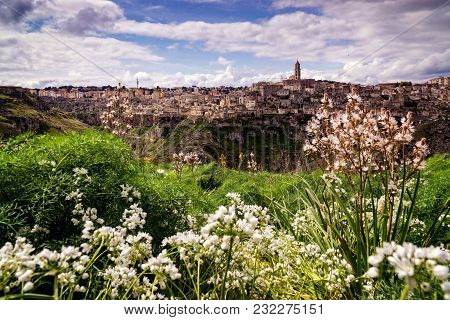 Summer Scenery In The Splendid Town Of Matera Town Of Southern Italy, A World Heritage Site Set To B