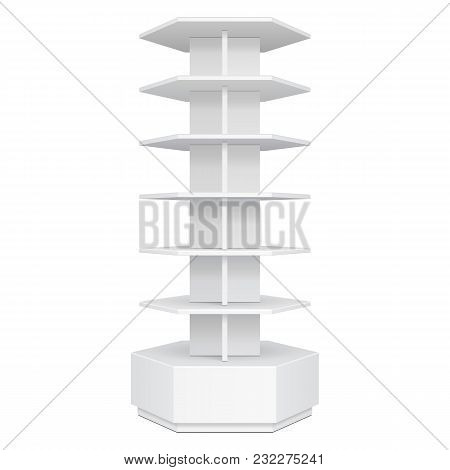 Hexagon, Hexagonal POS POI Cardboard Floor Display Rack For Supermarket Blank Empty Displays. Products Mock Up On White Background Isolated. Ready For Your Design. Product Advertising. Vector EPS10 poster