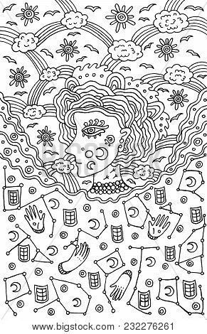 Surreal Girl Goddess Of Night And Day Sky. Tribal Fairy Tale Woman Art. Coloring Page For Adults. Do