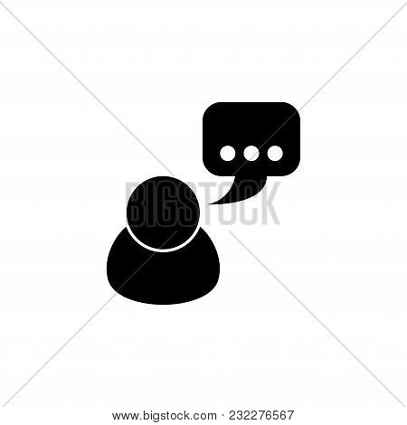 Talking. Flat Vector Icon. Simple Black Symbol On White Background
