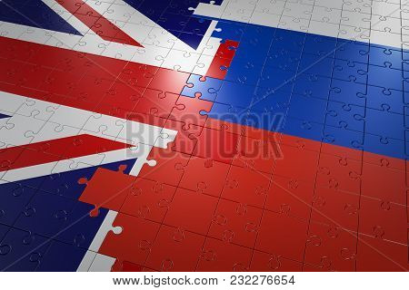 Flags Of Great Britain And Russia. 3d Rendering.