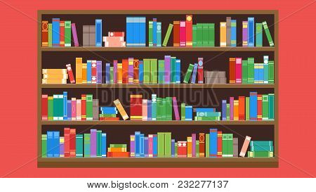 A Large Wooden Bookcase On A Red Background. Flat Style. Different Books On The Shelves. Vector Illu