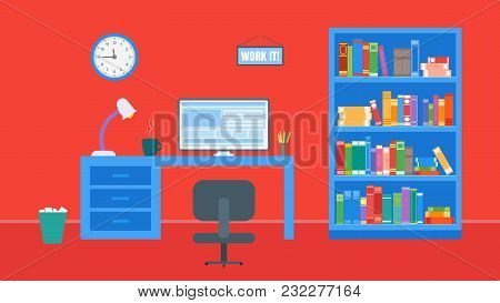 Office, Workplace And Library With Bookcases. A Lot Of Books. Flat Style. Vector Illustration.