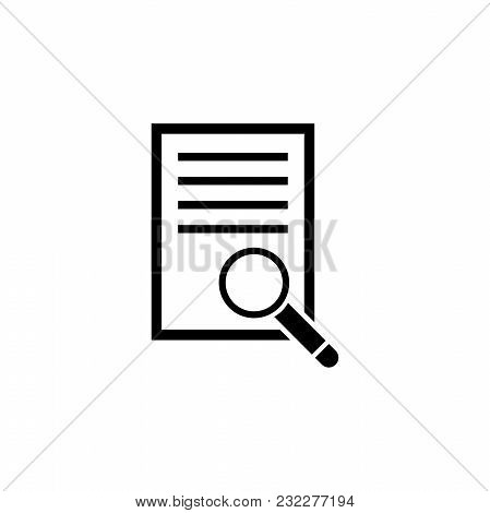 Document With Magnifying Glass. Flat Vector Icon. Simple Black Symbol On White Background