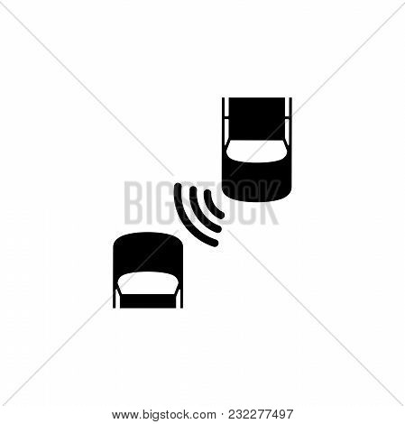 Car Safety System. Flat Vector Icon. Simple Black Symbol On White Background