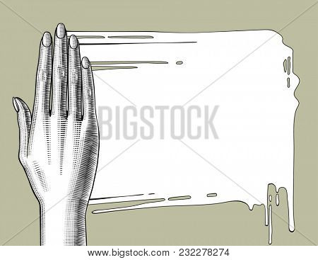 Woman's hand palm down smearing white paint. Vintage engraving stylized drawing
