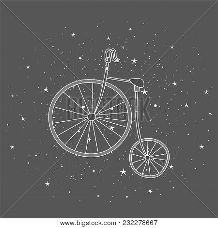 Retro Bicycle With Large Front Wheel Painted In The Style Of Doodle. Hand Drawn Elements For Your De