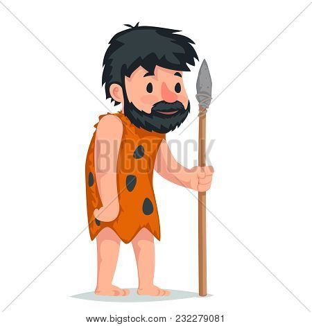 Ancient Caveman Stone Spear Character Icon Cartoon Design Vector Illustration