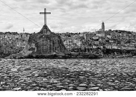 Panorama Of The Matera Destination In Southern Italy With Its Monuments And Rock Houses, Shot From O