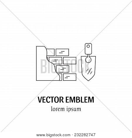 Vector House Repairs Symbol In Trendy Line Style Isolated On White Background. Trowel And Wall. Icon