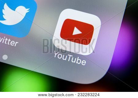Sankt-petersburg, Russia, March 21, 2018: Youtube Application Icon On Apple Iphone X Smartphone Scre