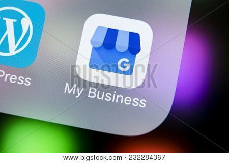 Sankt-petersburg, Russia, March 21, 2018: Google My Business Application Icon On Apple Iphone X Scre