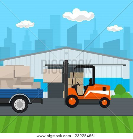 Warehouse On The Background Of The City , Forklift Truck And Lorry With Boxes , Transportation And C
