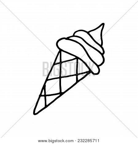 Sweet Cartoon Hand Drawn Ice Cream Illustration. Cute Vector Black And White Ice Cream Illustration.