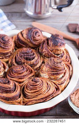 Fresh, Homemade Cinnamon Buns In Baking Pan, Selective Focus