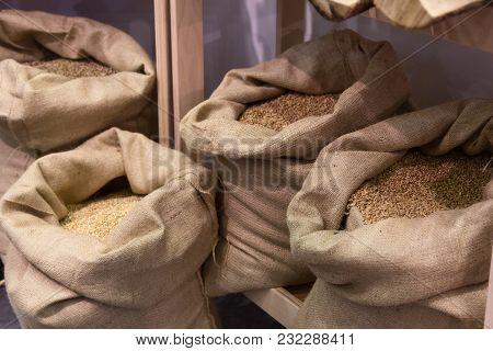 Select Grain In Bags Before Grinding. Food